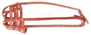 Универсальный кожаный намордник-сетка с дополнительным налобным ремешком