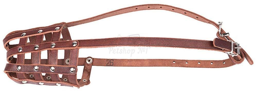 Универсальный кожаный намордник-корзинка с дополнительным налобным ремешком