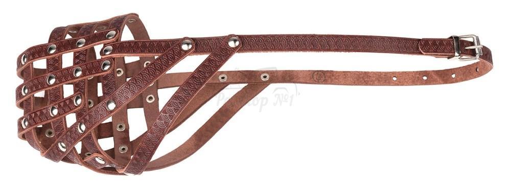 Универсальный классический кожаный намордник-сетка с открытой мочкой носа