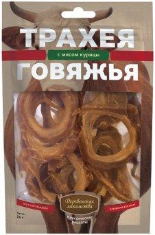 Деревенские лакомства трахея говяжья с мясом курицы классические рецепты 50 гр_0